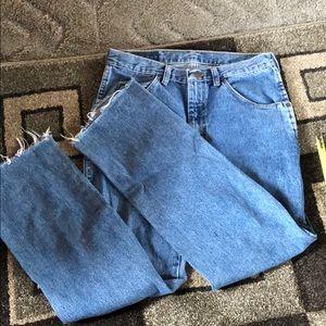 straight leg cut off wrangler jeans
